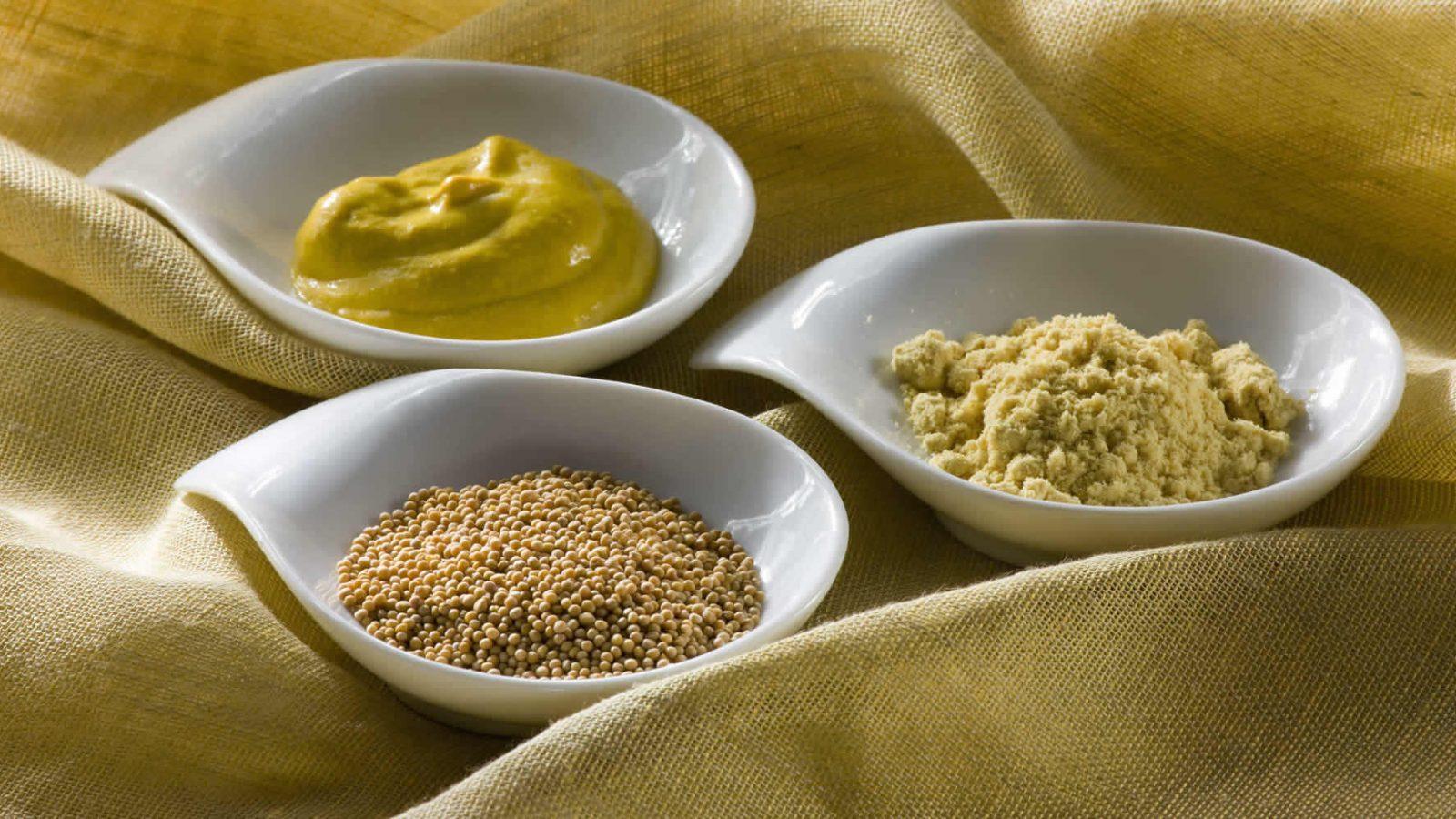 Mustard powder prepared mustard and whole grain